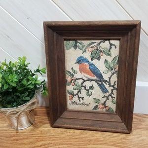 VINTAGE Painted Linen Wooden Framed Bluebird